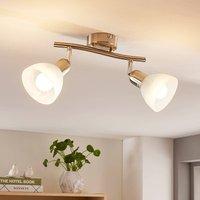 Image of 2-flammige LED-Deckenleuchte Paulina, nickelfarben
