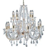 12 bulb Marie Therese chandelier  brass