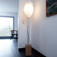Floor lamp Tulip with red cable  white oak
