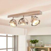 Lieven aluminium LED ceiling spotlight, three-bulb