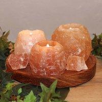 Rock tea light holder set made of salt crystals