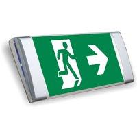 Flat LED emergency wall light  aluminium finish
