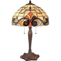 5925 table lamp  Tiffany style  cream and red