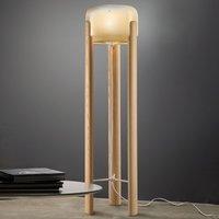 Sata floor lamp  amber lampshade  light wood base