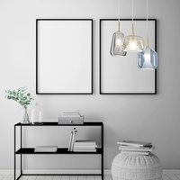 X Ray hanging light 3 bulb grey honey blue