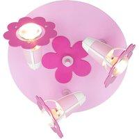 Flower ceiling light  pink  round  three bulb