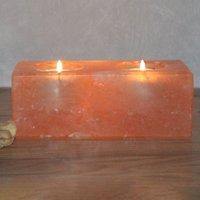 Twin Cube salt crystal tea light holder