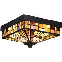 Buiten plafondlamp Inglenook met gekleurd glas