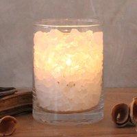 Zoutkristal poollicht glas met Palmwax kaars