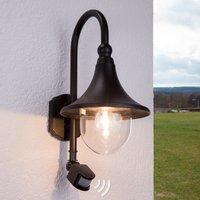 Daphne outdoor wall light with sensor  black