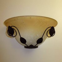 Brown wall light Provence with floral decorations