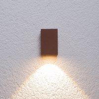 Rostbraune LED-Außenwandleuchte Tavi, Höhe 9,5 cm