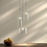 Spillray three bulb glass pendant light