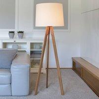 Herzblut Tre floor lamp white lampshade  oiled oak