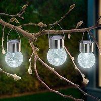 Three Crackle Ball LED solar lights  6 000 K
