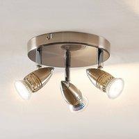 ELC Kalean LED ceiling spotlight  nickel  3 bulb