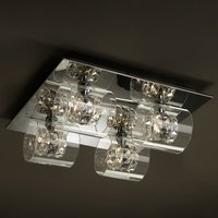 Flash LED ceiling lamp with crystal rings