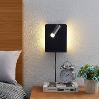 Lucande Zavi LED wall spotlight  shelf  USB  black