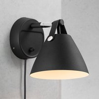 Strap wall light with a leather strap  black