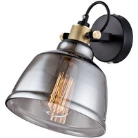 Smoked glass lampshade   Irving wall light