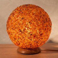 Extravagant amber table lamp in ball design