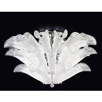 Petali ceiling light Murano glass chrome and white