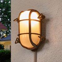 Oval outdoor wall light Bengt antique brass