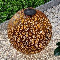 Lindby Eduta Ornament-LED-Solarleuchte, rostfarben