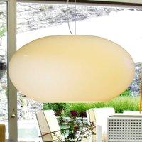 Glass pendant light AIH 38 cm cream lustrous