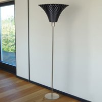 Graphite coloured Flechtwerk designer floor lamp