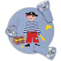 Light blue Pirate ceiling light with 3 bulbs