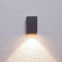 Grafitgraue LED-Außenwandleuchte Tavi, Höhe 9,5 cm
