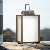 Tradition LED solar lantern teak wood height 40 cm