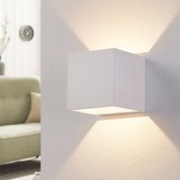 White LED wall light Esma in cube form