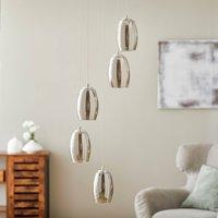 Metropolis LED hanging light smoked glass 5 bulb