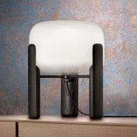 Sata table lamp  white lampshade  black base