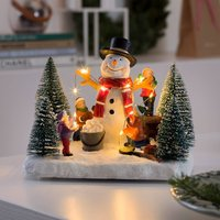 Battery powered   LED scene Snowman with Children