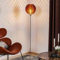 Flechtwerk floor lamp  spherical  copper