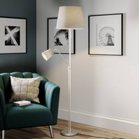 Lindby Nantwin floor lamp  fabric lampshade  grey