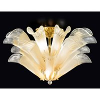 Petali ceiling light  Murano glass  gold and amber