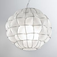 Pouff hanging light in white and stainless steel