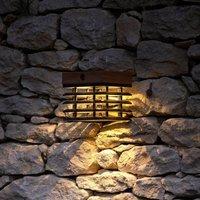 Tekura LED solar wall light made of teak