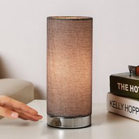 Grey table lamp Ronja with a chrome base