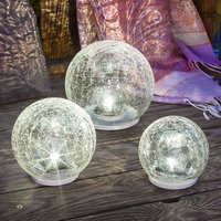 LED solar light set Crackle Ball  set of 3
