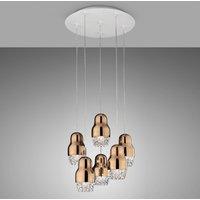 Six bulb LED hanging lamp Fedora rose gold