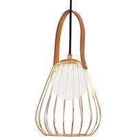 Levik pendant light with golden cage   18 cm