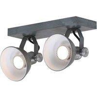 Brooklyn LED ceiling spotlight 2 bulb grey