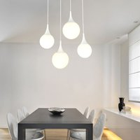 Dewdrop pendant light with four glass lampshades