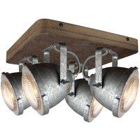 Woody ceiling light  galvanised  4 bulb