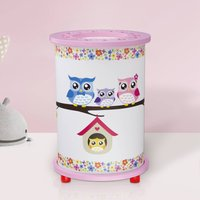 Owl table lamp for a child s room  white and pink